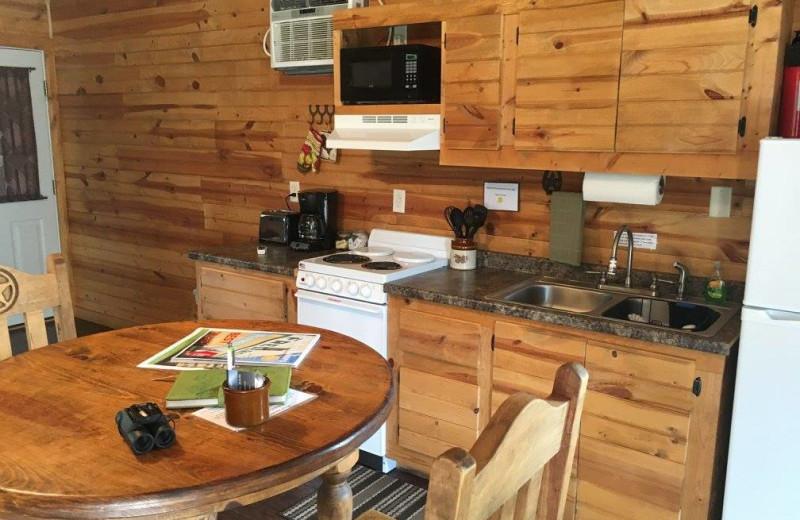 Cabin kitchen at Walnut Canyon Cabins.