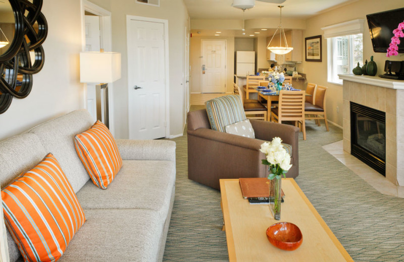 Living Room of a Two Bedroom Unit at the Carlsbad Seapointe Resort