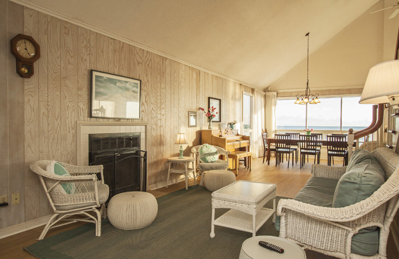 Rental living room at Oak Island Accomodations.