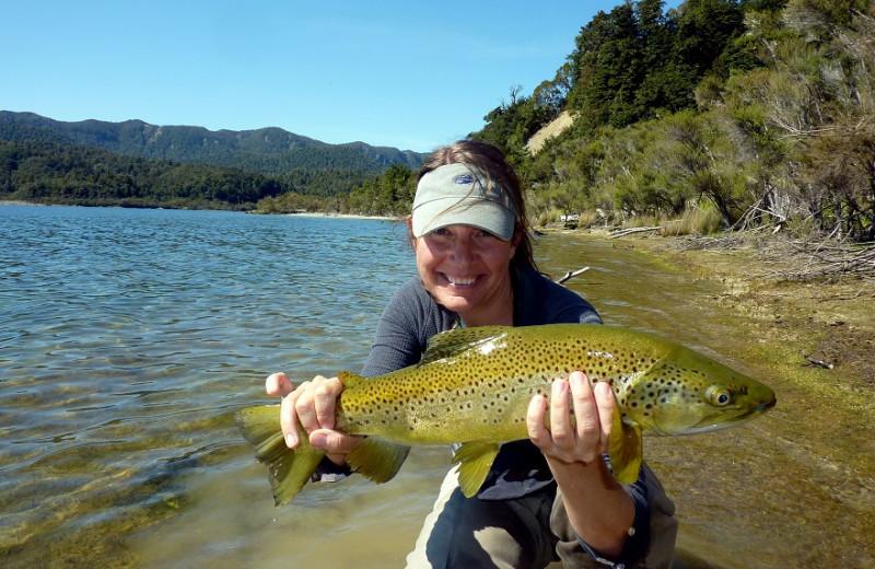 Fishing at Lake Taupo Lodge.