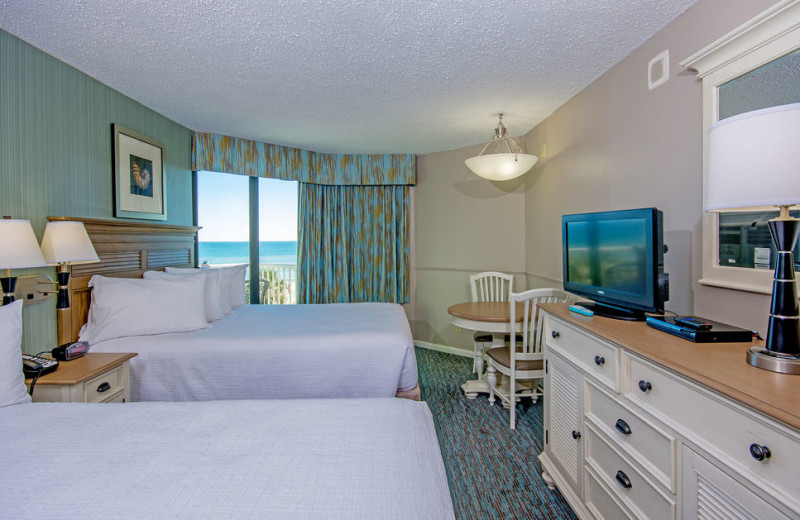 Two bed guest room at The Strand Resort Myrtle Beach.