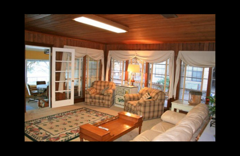 Cabin living room at Cool Water Cabin Rental - Lake LBJ.