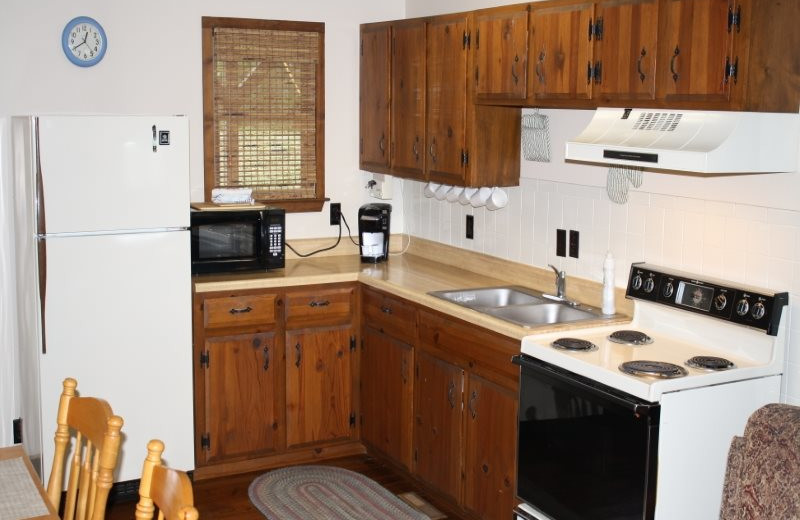 Cabin kitchen at Arkansas White River Cabins.