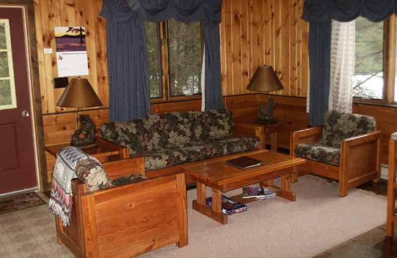 Cabin living room at Hohmeyer's Lake Clear Lodge.
