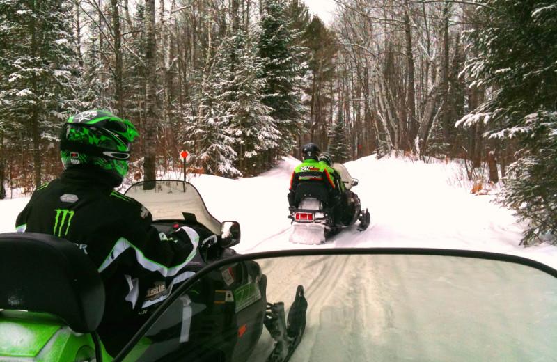 Snowmobiling at Schatzi's 4 Seasons Resort.