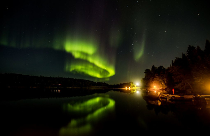 Northern lights at Rainbow Point Lodge.