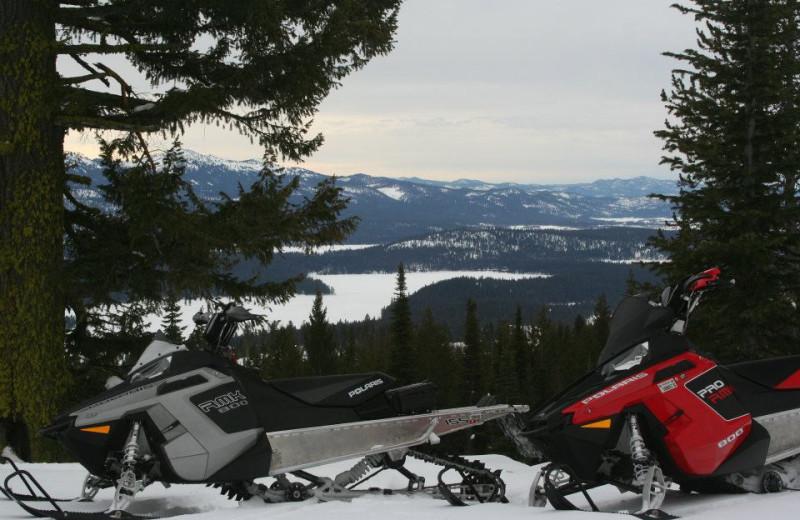 Snowmobiling at Bear Creek Lodge.