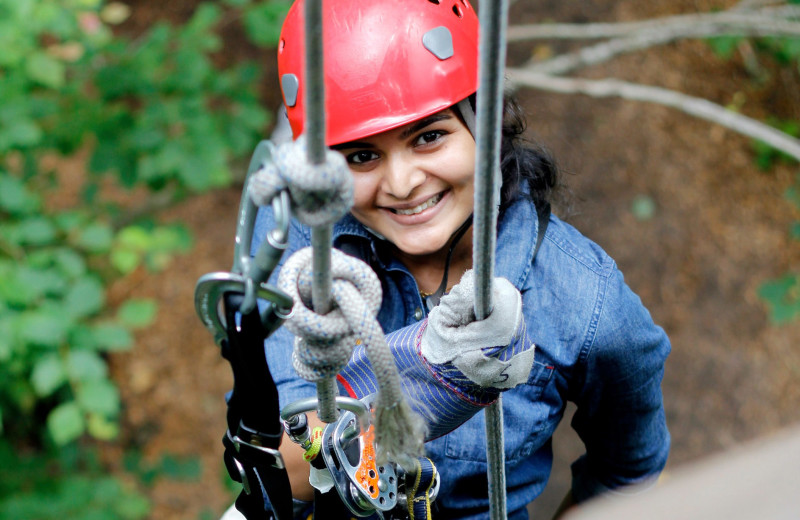 Rope climbing at Country Road Cabins.