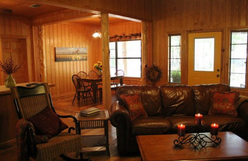 Cabin interior at Beavers Bend Getaway.