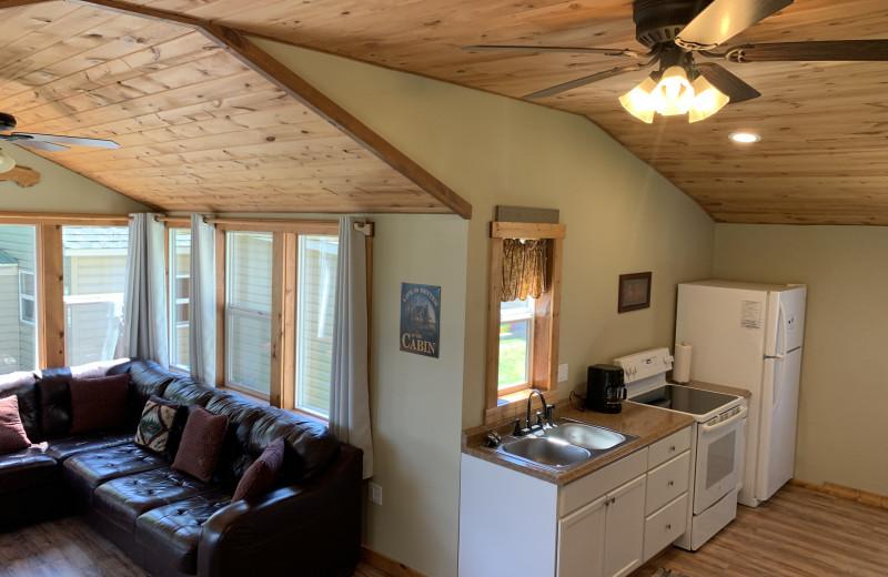 Cottage interior at Holly's Resort.