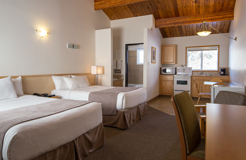 Guest room with kitchen at Rocky Mountain Ski Lodge.