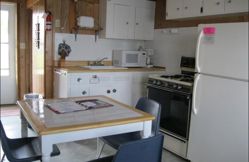 Cabin kitchen at Betsy Ross Resort.