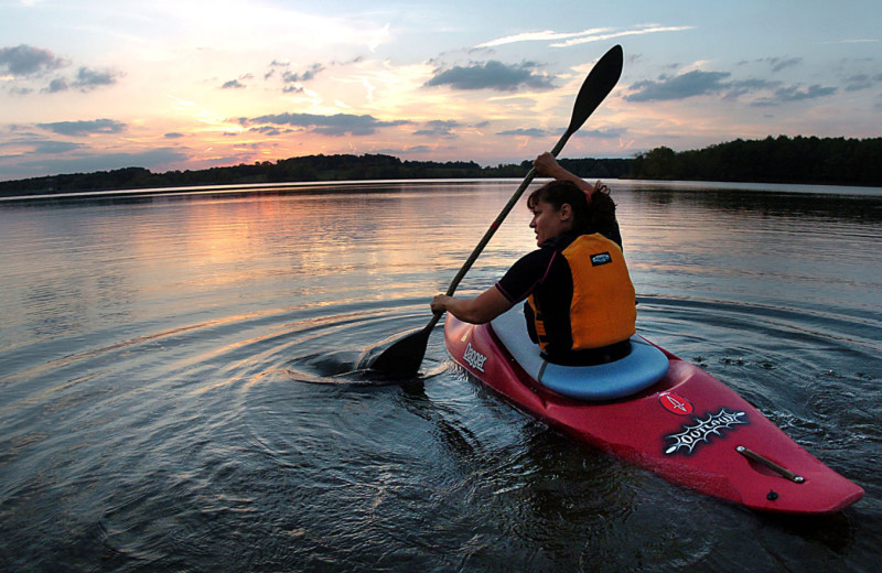 Kayaking at Campa Pajama Cabin.