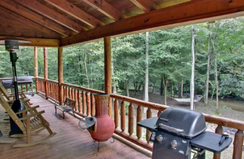 Deck view at Georgia Mountain Cabin Rentals.