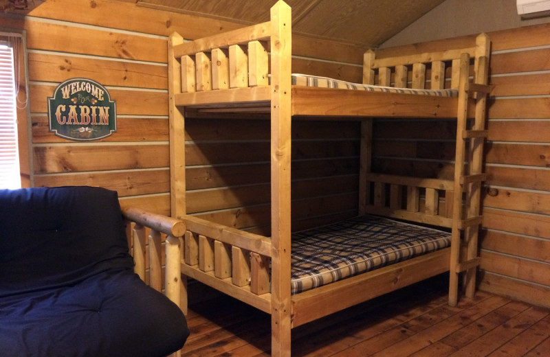 Cabin bunk beds at Jellystone Park at Lake Monroe.
