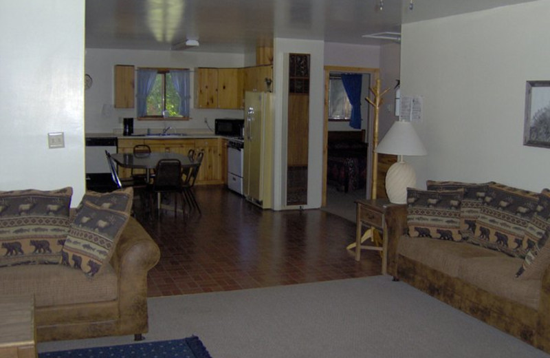 Cabin interior at Lone Wolf Cabins and Getaway.