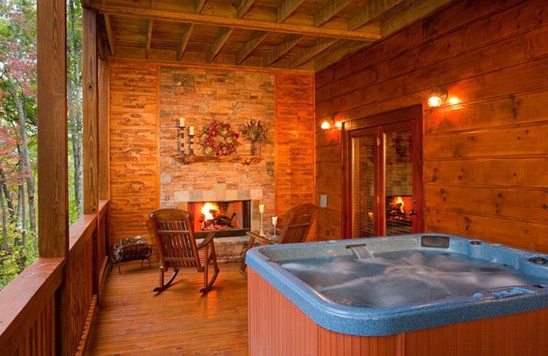 Rental hot tub at Cabin Rentals of Georgia.