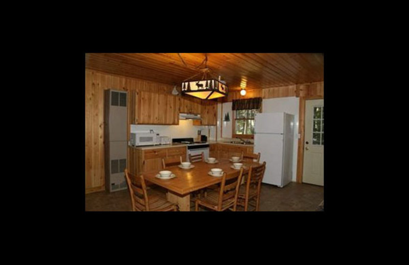 Cabin kitchen at Broadwater Lodge.
