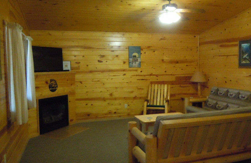 Cabin living room at Lakewood Lodge.