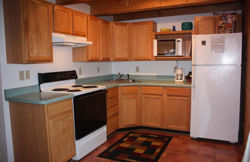 Cabin kitchen at Morris' Last Resort.