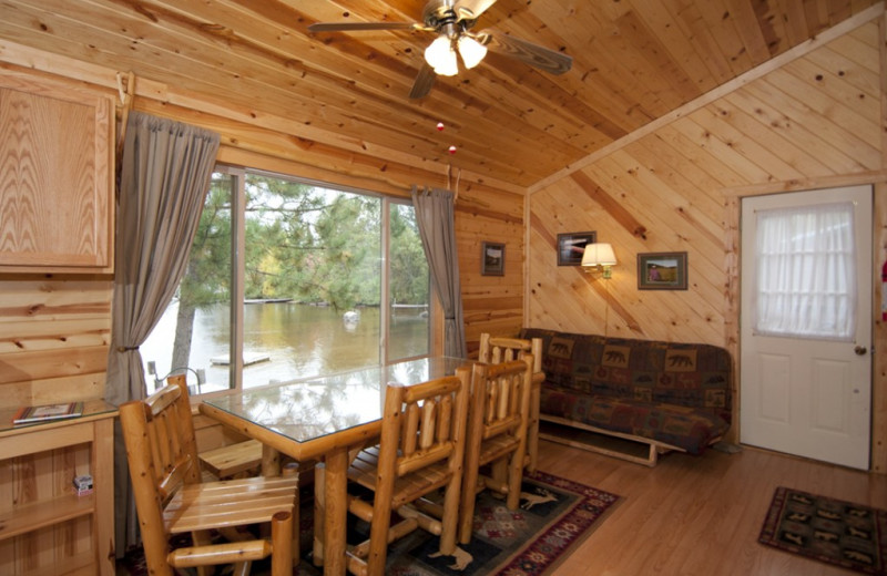 Cabin dining room at Moose Track Adventures Resort & Outfitter.