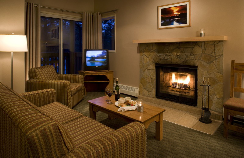 Condo living room at Banff Rocky Mountain Resort.