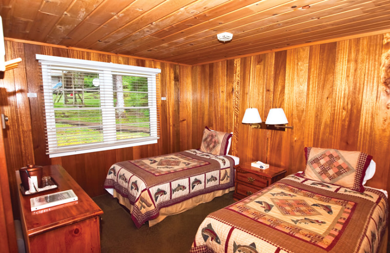 Guest bedroom at Yes Bay Lodge.