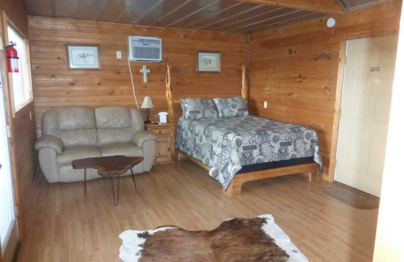 Cabin bedroom at Walnut Canyon Cabins.
