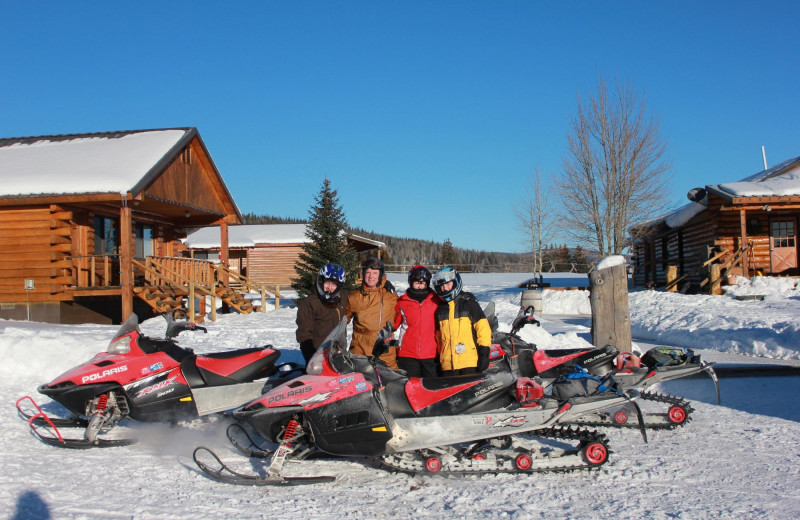 Snowmobiling at Kendall Valley Lodge.