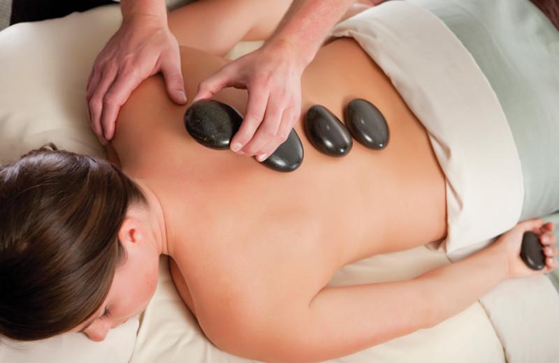 Hot stone massage at Mayne Island Resort and Spa.