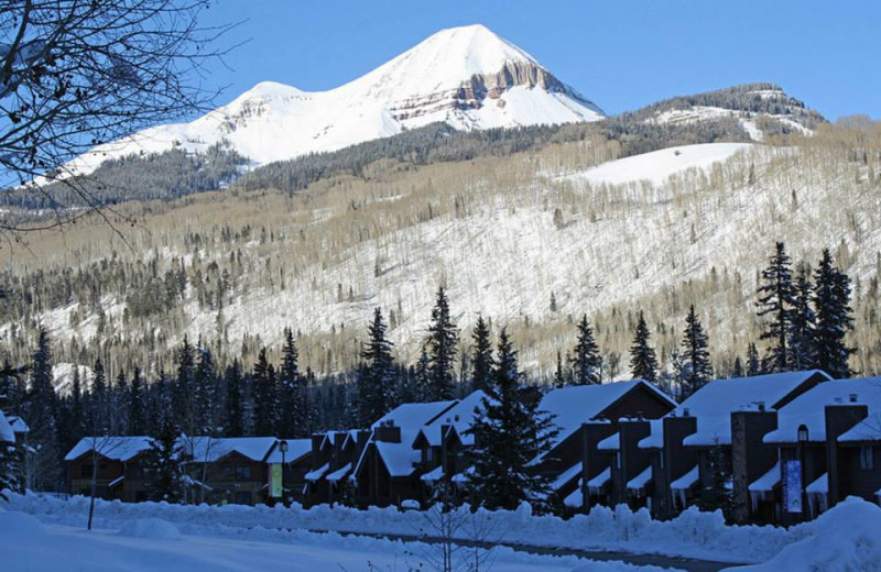 Winter scene at Cascade Village Condominiums.