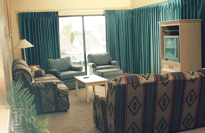 Guest living room at WindWater Hotel & Resort.