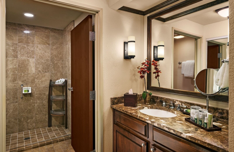 Guest bathroom at Gainey Suites Hotel.
