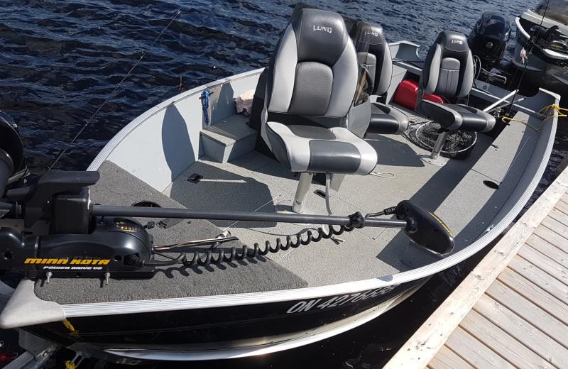 Fishing boat at Elk Lake Wilderness Resort.