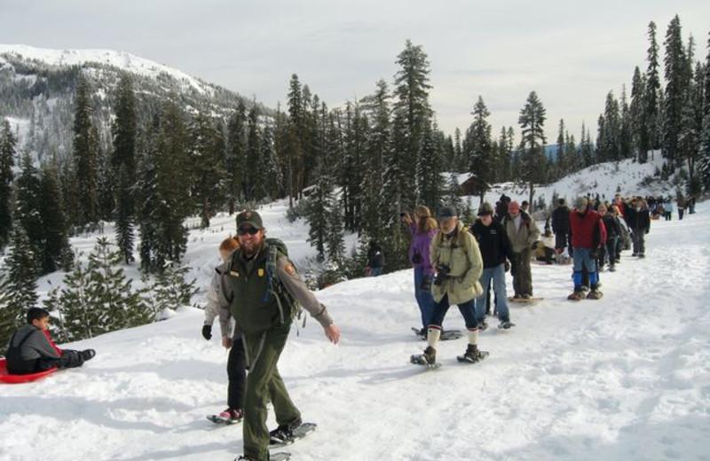 Snowshoeing near St. Bernard Lodge.