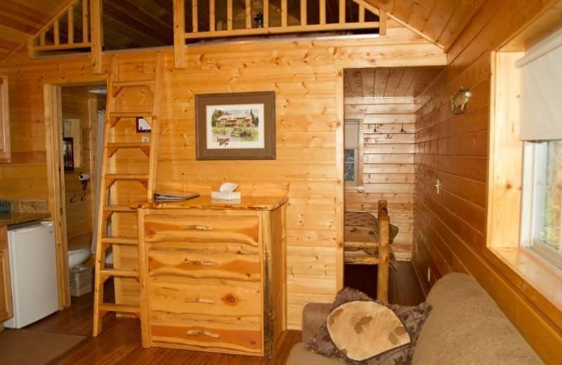 Cabin interior at Izaak Walton Inn.