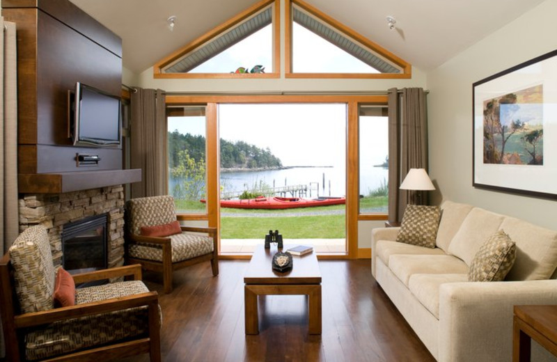 Cottage living room at Mayne Island Resort and Spa.