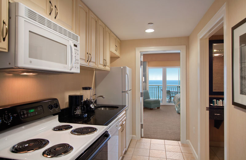 Suite kitchen at Hilton Suites Ocean City Oceanfront.