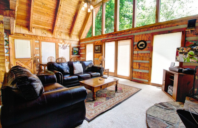 Rental living room at Auntie Belham's Cabin Rentals.