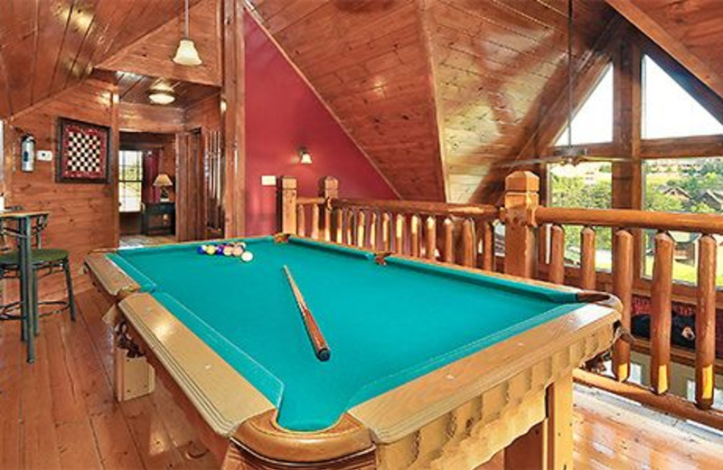 Cabin game room at Dollywood Cabins.