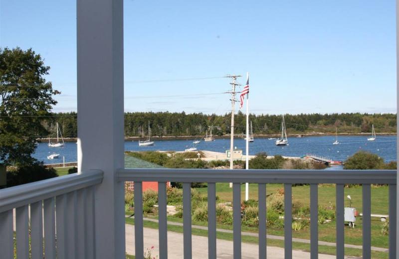 Porch view at Sebasco Harbor Resort.