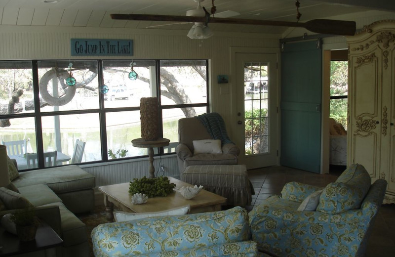 Living room at Turtle Rock Cottage on Lake LBJ.