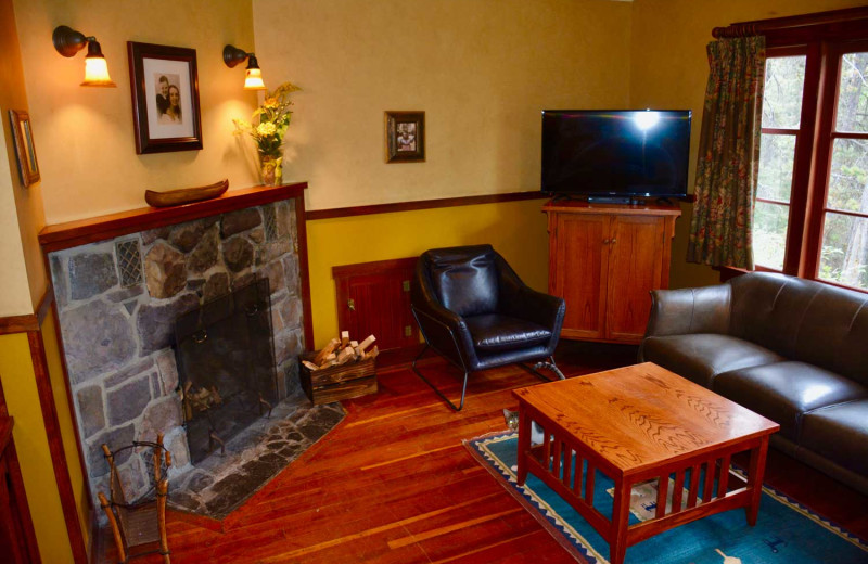 Cabin living room at Johnston Canyon Lodge & Bungalows.