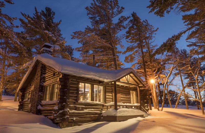 Winter cabin at Keweenaw Mountain Lodge.