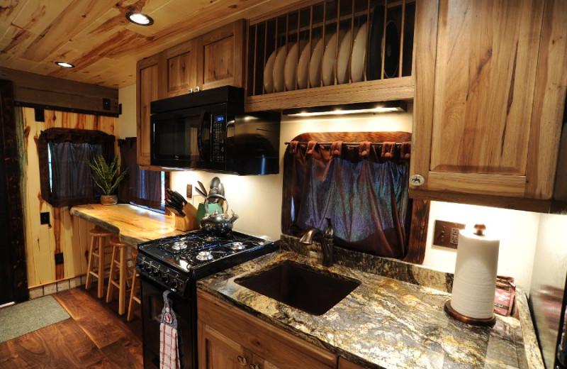 Cabin kitchen at Izaak Walton Inn.