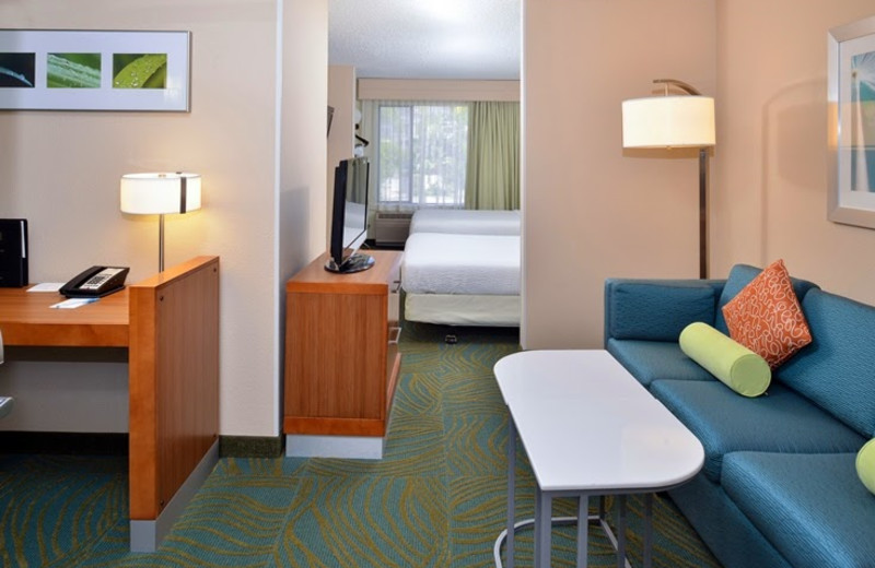 Guest room at SpringHill Suites Pasadena Arcadia.