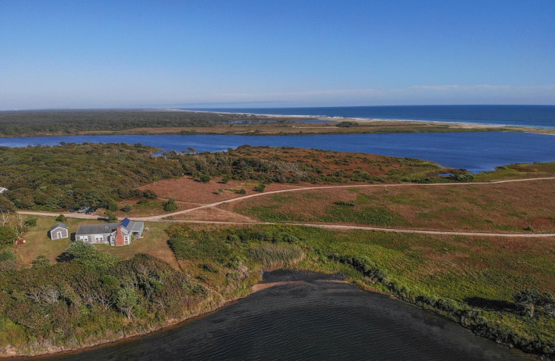 Aerial view of Sandpiper Rentals.