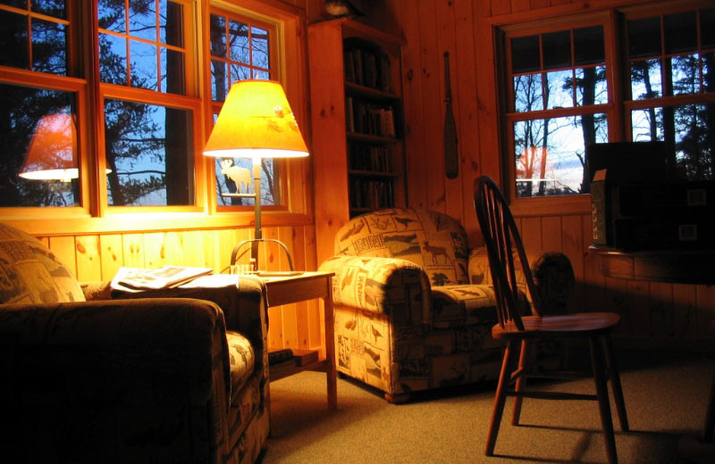 Cabin living room at Loon Point Resort.