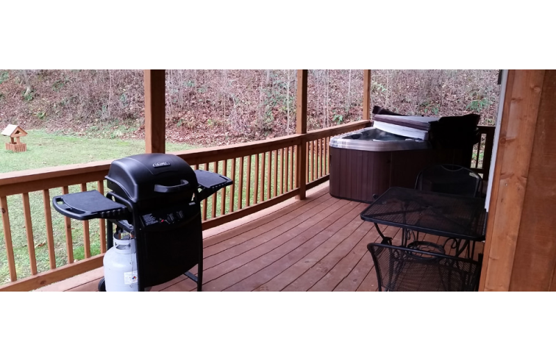 Cabin deck at Hocking Hills Backwoods Retreat.