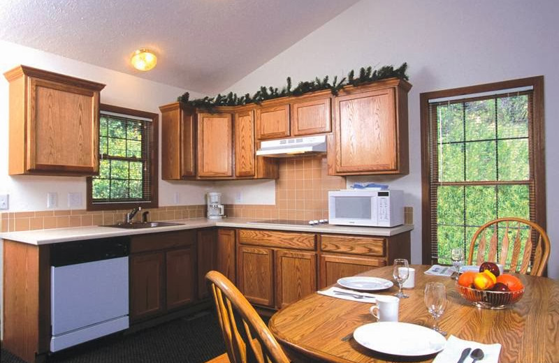 Guest kitchen at The Evergreens On Fall River.